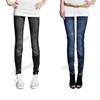 JEANS CHIC STRETCH LEGGINGS PANTS Black/ Blue (Drop shipping support!)  free shipping 7934