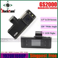Full HD Car DVR 1920*1080P 30FPS With GPS G-SENSOR H.264 Ambarella CPU Free Shipping Original GS2000 Car Digital Camera