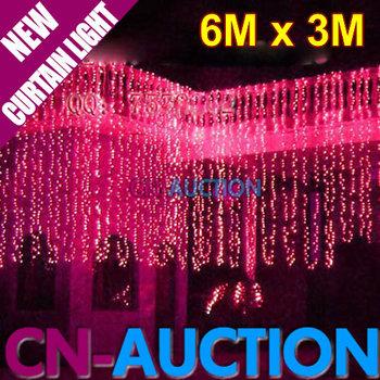 FS! 6Mx3M LED String Light 832 LEDs Curtains Lights LED Decoration Lamp Fairy Wedding Christmas Lights 7 Colors Option 10pcs/lot