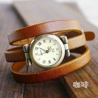 Christmas Gift Sale Wholesale Vintage Genuine Cow Leather Watch Women Ladies Fashion Dress Quartz Wrist Watch kw-025