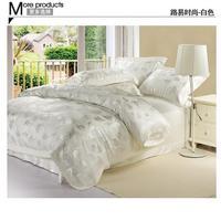 White Jacquard Satin comforter cover king queen size 4pcs silk/cotton duvet cover bed sheet bedclothes bedding set home textile