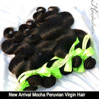 "Hot selling 7A Grade  Mix 3 or 3 pcs/lot Mocha Hair Peruvian virgin hair Body Wave  10""-30"" Wholesale Natural Color Tangle Free"