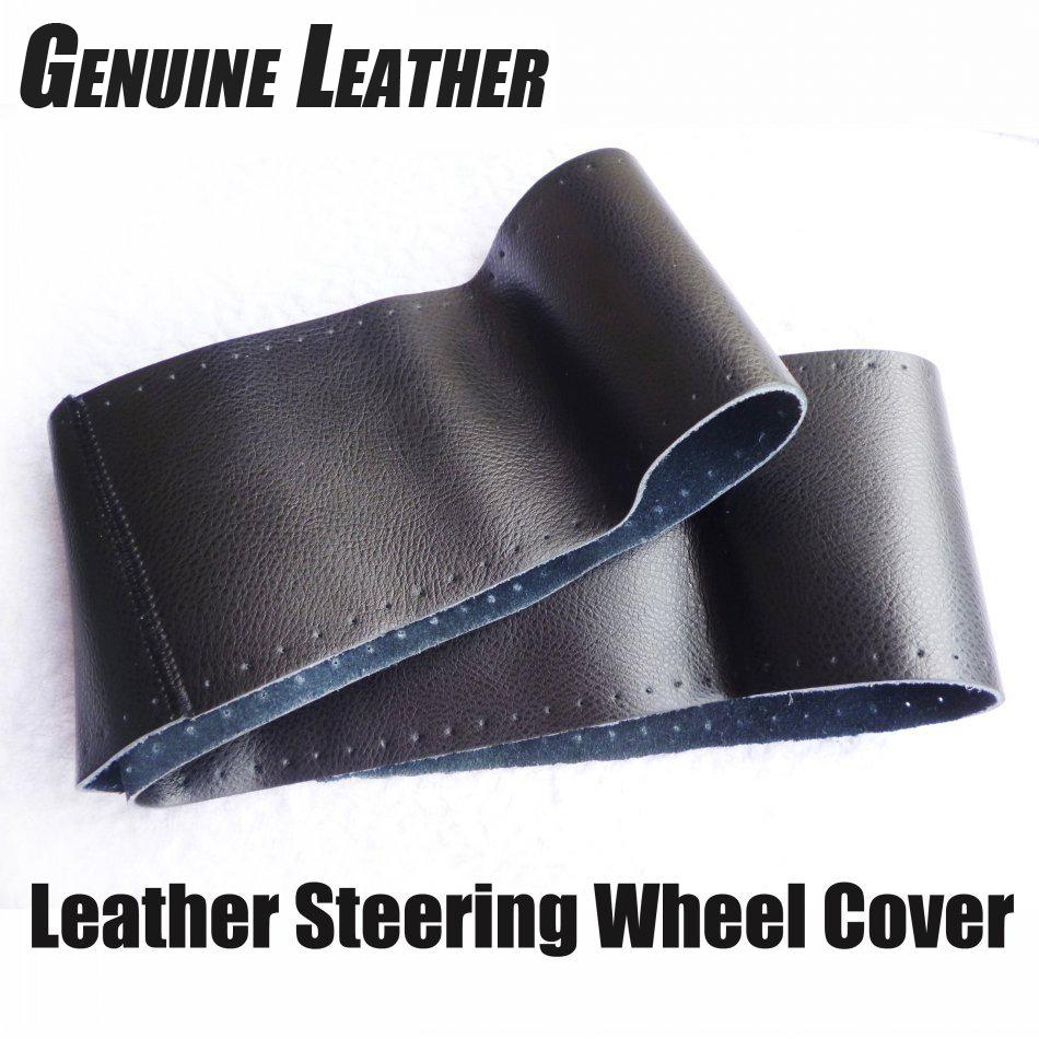 Steering Wheel Cover Genuine Cowhide Leather DIY Hand Sewing Diameter 37-39cm Black Grey Beige Freeshipping Wholsale Gifts