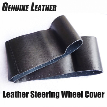 Steering Wheel Cover Genuine Cowhide Leather DIY Hand Sewing Diameter 37-39cm Black Grey Beige Freeshipping Wholsale Gifts