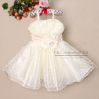 2014 New Stock Kid Clothing Girl Elegant Dresses Fashion Party Dress White Wedding Costumes for Kids Clothing GD21029-07^^EI