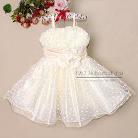 2015 New Stock Kid Clothing Girl Elegant Dresses Fashion Party Dress White Wedding Costumes for Kids Clothing GD21029-07^^EI