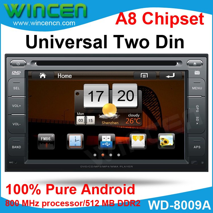 New!!! Pure Android Universal Two Din Car DVD with Android System 512MB memory 4GB storge Space 800 MHz(China (Mainland))
