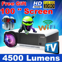 "Free 100"" Screen Android 4.2 4500Lumen 1080P Full HD Smart Wifi LED 3D Video Projector portable Multimedia Home cinema TV Beamer"