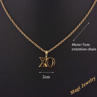 Min Order $10 Fashion Gift Gold Plated XO Letter Sign Pendant Necklace MN055 Magi Jewelry