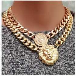 [Mix 15USD] Shiny Gold plated Lion head Chain Queen Necklace Chunky Choker Chain Pendant Statement(China (Mainland))