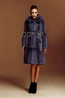 2013  Winter Woman Warm Genuine Rex Rabbit and Mink Fur Coat With Hooded and Belt Female OvercoatWholesale Retail OEM  QD22235