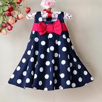 Baby Girls Princess Navy Blue Dresses Polka Dot Toddler Girl Hot Pink Bow Party Dress Kids Casual Cotton Clothing