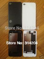 (DHL Free)100% Top Quality for iPhone 4 4G CDMA Glass Back Cover Housing W/ Chrome Ring Lens&Flash Diffuser Black White(100PCS)