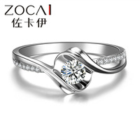 "ZOCAI  BRAND ENCOUNTER ""0.5 CARAT EFFECT"" 0.19 CT CERTIFIED ROUND CUT 18K WHITE GOLD I-J / SI DIAMOND ENGAGEMENT RING W02534"