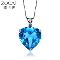ZOCAI Brand AURORA 7 CT CERTIFIED BLUE TOPAZ HEART DIAMOND 9K WHITE GOLD PENDANT+ 925 STERLING SILVER CHAIN NECKLACE