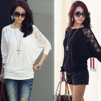 2015 New Fashion Long Sleeve Crew Neck Batwing Dolman Sleeve Lace Casual Women T-Shirt Loose Top Black White Free Shipping 0662