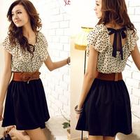 Free Shipping New Summer Fashion Women Dress Chiffon Short Sleeve Polka Dots Waisting Mini Dress #6123