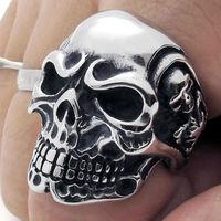 Men's Huge Silver Skull Stainless Steel Biker Ring US Size 9#,10#,11#,12#,13#,14#,Feel shipping,R#03