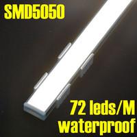 DHL/EMS Shipping, 20pcs/Lot 72 Leds 1 meter/pc Warm or White Color Waterproof Aluminum Alloy Rigid Led Strip Bar Light SMD 5050