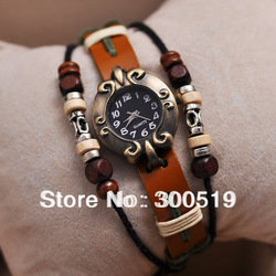 JW004 Genuine leather / Cow Leather watches with turquoise , Retro little hammer dress watch for women,free shipping(China (Mainland))