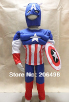 royalblue 3-7years Party Kids Comic Marvel Captain America Muscle Halloween Costume,boy roll play clothing free shipping