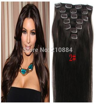 "Straight Brazilian Virgin Hair Remy 7pcs 8pcs 10pcs / set Clip in Human Hair Extension 15"" 18"" 20"" 22"" 24"" 26"" 28"" Color #2"