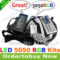 LED RGB Strip Light 5M 5050 RGB Waterproof 300 LEDs + 44Key IR Remote Controller + 6A better quality AC Power Supply 12V adapter