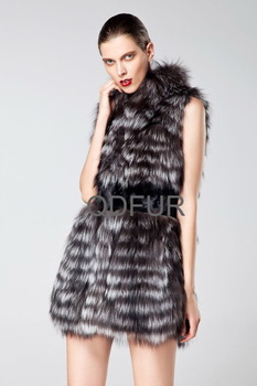 Fashion Natural Color Genuine Silver Fox Fur Vest With Pieces Of Mink Fur Trim Luxury Garment /Free shipping QD6412   A  G