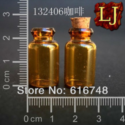 Free Shipping-100ocs 1ml empty amber glass bottle with wood cork,Mini glass bottle,Sample vial,Brown bottle,Storage bottle132406(China (Mainland))