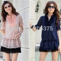 Free shipping+2014 New fashion Cheap Women short dress chiffon Lace Decoration Layered Dress Lady Dresses Good quality M L XL