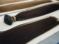 "18"" 20"" 22"" 2# darkest brown Color Stick I tip PreBonded Human Hair Extensions Indian Remy 1g/s 0.8g/s 100g/lot  AAA Grade H011"