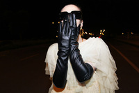 Free shipping Women Sexy Faux Synthetic Leather Black color Gloves Gothic Five Fingers Long PU Gloves 50cm length