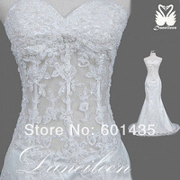 Freeshipping! Latest Design Photos Vintage Lace See Through Corset Mermaid Wedding Dresses
