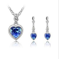 CS12016 Heart 2013 Fashion Austrian Crystal Jewelry Set,Platinum Plated, Weding Set Vintage Beauty Cute  Wholesale Free Shipping