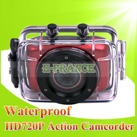 "Waterproof HD 720P Mini Action Camera for Car/Bicycle  with 2.0"" LCD + 1.3MP CMOS + High-performance Chip  Free Shipping"