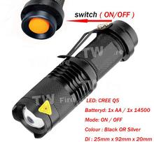 Mini ZOOMABLE del CREE Q5 7W - XPE 500lm ZOOM táctico AA 14500 batería Linterna antorcha lámpara(China (Mainland))