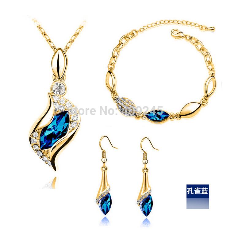 free shipping 2013 new fashion crystal drop jewellery set TZ-045 g(China (Mainland))