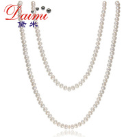 DAIMI 2014 jewelry Pearl Necklace   7-8mm natural Freshwater pearl white sweater chain grows long necklace Female