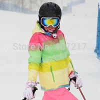 2014 new womens ski jacket  muticolor grid waterproof snowboarding jacket ladies color matching ski jacket snow parka skiwear
