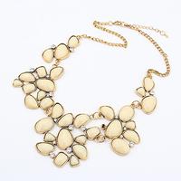 Vintage Green Resin Gem Shourouk Gold Collar Choker Statement Necklaces & Pendants New 2014 Fashion Jewelry Women Wholesale T16