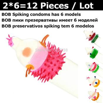 12 pcs BOB Exotic novelty funny spikes G spot Long love Sex delay condoms set with colors Natural latex rubber condome for men