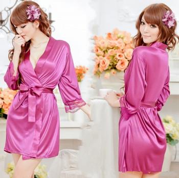Sexy lingerie Mike Silk robe dress+g string set sleepwear costume sexy sleepwear, sexy kimono, and sexy uniform W1341