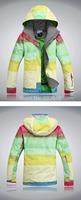 2014 New womens waterproof colorful big grid snowboard jacket ladies funtional ski jacket ski tops skiwear snow jacket for women