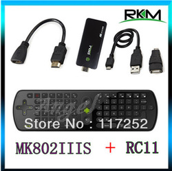 Rikomagic MK802IIIS Bluetooth Mobile Remote Control MINI PC Android 4.1 TV BOX Wifi STB 1G/ 8G MK802 IIIS & Fly air mouse RC11(China (Mainland))