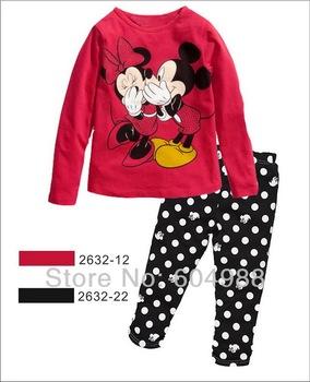 Free shipping,Lovely Minnie long sleeve girl's suit, kids homewear long sleeve pajamas kids sleepwear 6sets/lot