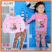 Girls Frozen Sister Pajamas Sets Kids Autumn -Summer Clothing Set New 2014 Wholesale Children Cartoon Pyjamas X-394 -X395