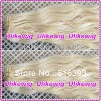 "AAAAA Indian Virgin Hair Products 16"" #60 Loose Wave Platinum Blond Color Indian Virgin Human Hair Weft"