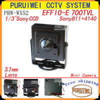 "Free shipping!!!Special offer 11/3"" Sony ccd  effio-e 700tvl 3.7mm Lens pinhole hidden cctv camera."