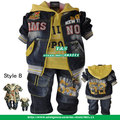 2013 baby boys sport hoodies clothing set,toddler yellow red denim suit,3 pcs cowboy suit coat+hoodies sweatshirt and jeans(China (Mainland))