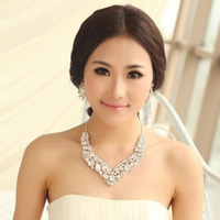 Free shipping Newest crystal bridal jewelry sets hotsale necklace+earrings cheap wedding jewelry sets